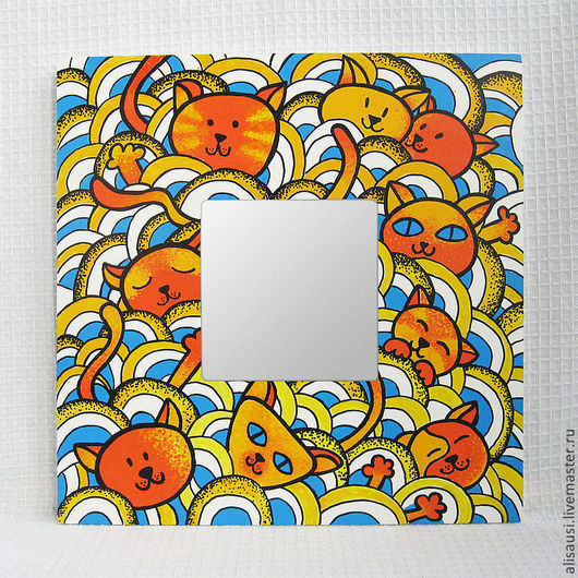 """Зеркала ручной работы. Ярмарка Мастеров - ручная работа. Купить """"Апельсиновые котята"""". Handmade. Рыжий, яркий, игра, подарок"""