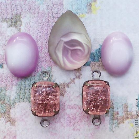 """Для украшений ручной работы. Ярмарка Мастеров - ручная работа. Купить Винтажный набор:стразы, кабошоны, кристаллы, подвески  """"Rose """". Handmade."""
