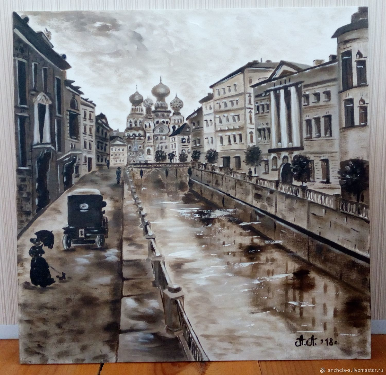 Author's oil painting' In the old city ' grisaille, Pictures, Moscow,  Фото №1