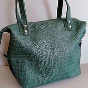 Сумки и аксессуары handmade. Livemaster - original item Bag leather women`s Bag handbag.Crocodile emerald. Handmade.