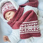 """Работы для детей, ручной работы. Ярмарка Мастеров - ручная работа Комплект вязаный """" Брусничное варенье """" , шапка , шарф. Handmade."""
