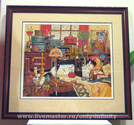 Животные ручной работы. Ярмарка Мастеров - ручная работа. Купить Мэгги рукодельница. Handmade. Кот, животные, канва