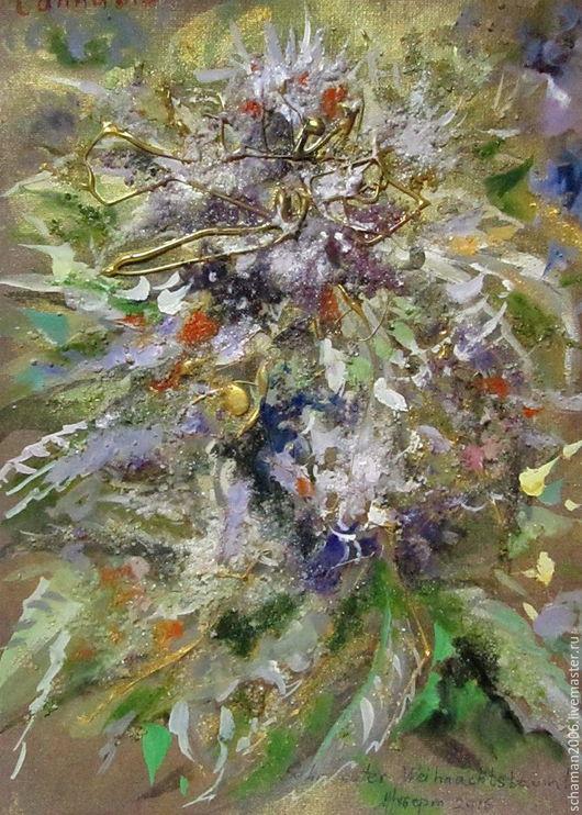 Картины цветов ручной работы. Ярмарка Мастеров - ручная работа. Купить Графика Елка. Handmade. Хаки, авторская графика, акрил