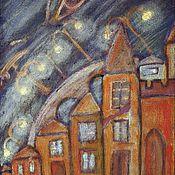"""Картины и панно ручной работы. Ярмарка Мастеров - ручная работа Картина """"Над городом"""". 50х35. Акрил. Темпера. Холст.. Handmade."""
