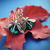 Украшения ручной работы. Ярмарка Мастеров - ручная работа Серьги Tiny Wings (овал) / цвет Изумруд /. Handmade.