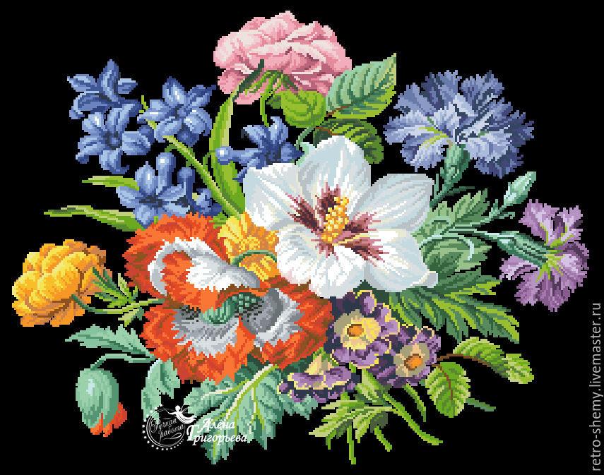 """Схема вышивки """"Любимые цветы""""."""