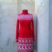 Одежда ручной работы. Ярмарка Мастеров - ручная работа вязаное платье жаккардовое. Handmade.