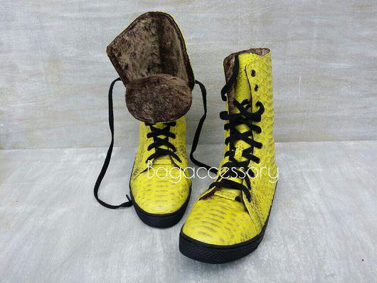 Обувь ручной работы. Ярмарка Мастеров - ручная работа. Купить Зимние кеды из натуральной кожи питона. Handmade. Кеды