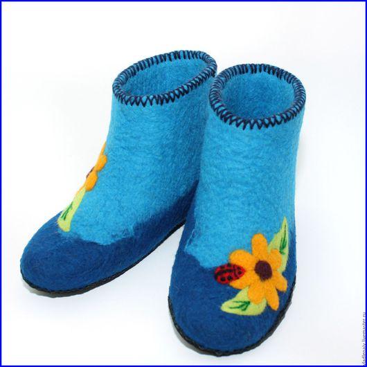 """Обувь ручной работы. Ярмарка Мастеров - ручная работа. Купить Валенки """"Ромашки желтые"""". Handmade. Тапочки, тапочки из шерсти"""