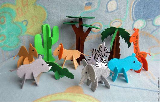 Объемные пазлы, пазлы 3д, пазлы из фетра, дерево из фетра, деревья из фетра, животные из фетра, слон из фетра, носорог из фетра, бегемот из фетра, жираф из фетра, зебра из фетра, лев из фетра, баобаб
