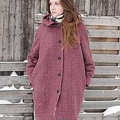 Одежда ручной работы. Ярмарка Мастеров - ручная работа Бордовое зимнее шерстяное пальто с капюшоном, гусиная лапка. Handmade.