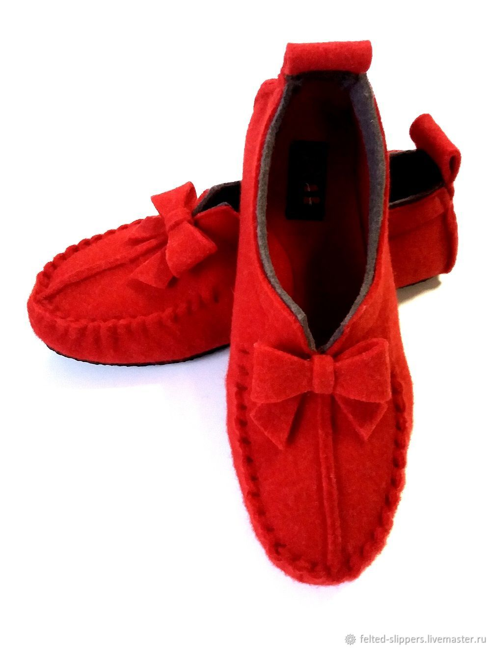 Moccasins made of felt COMFY BOW, 100% wool, Slippers, Prague,  Фото №1