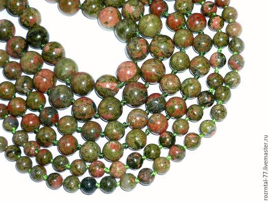 Унакит натуральный,гладкие  бусины: 6,8,10 мм
