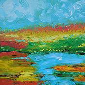 """Картины и панно ручной работы. Ярмарка Мастеров - ручная работа """"Orange field"""" 65х65 см большая картина маслом мастихином пейзаж. Handmade."""