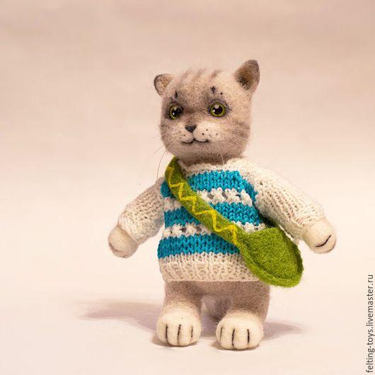 Игрушки животные, ручной работы. Ярмарка Мастеров - ручная работа. Купить Валяный котик. Handmade. Серый, котик, Валяние, войлок
