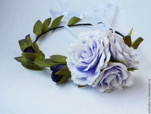 Диадемы, обручи ручной работы. Ярмарка Мастеров - ручная работа. Купить Веночек на голову с розами. из фоамирана. Handmade. Фиолетовый