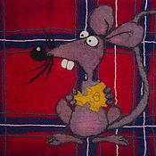 """Картины и панно ручной работы. Ярмарка Мастеров - ручная работа """"Голодная мышь"""" панно. Handmade."""