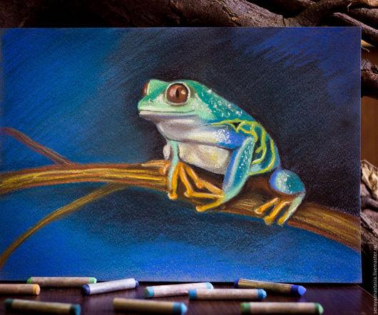 """Животные ручной работы. Ярмарка Мастеров - ручная работа. Купить Картина пастелью """"Яркая лягушка"""". Handmade. Тёмно-синий, лягушка"""