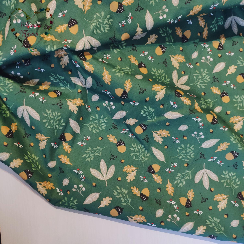 Хлопок китай сатин жёлуди на зелёном дубовый лист, Ткани, Москва,  Фото №1