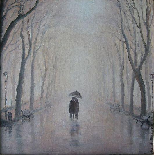 Город,сквер,мелкий дождичек,похожий,скорее,на туман,мягкий,рассеянный свет и двое под одним зонтом...