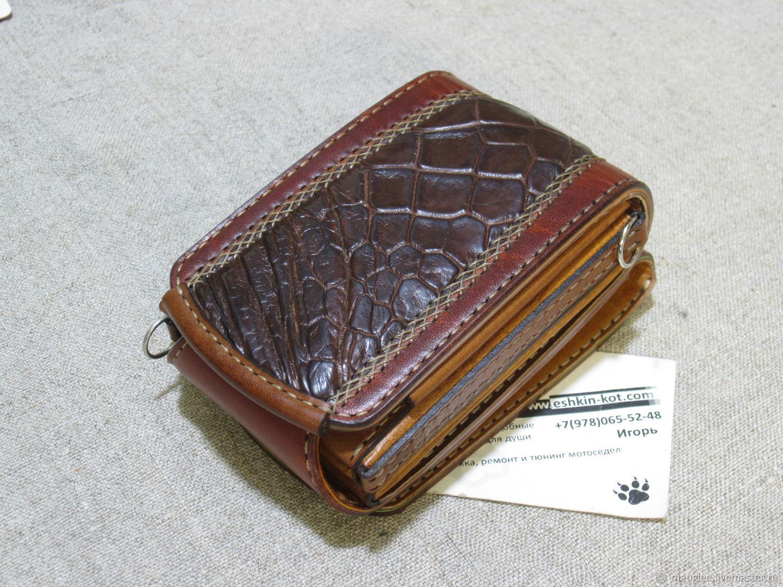 Compact wallet S-Fold Gator-cardholder. Purse on the belt, Wallets, Nizhnij Tagil,  Фото №1
