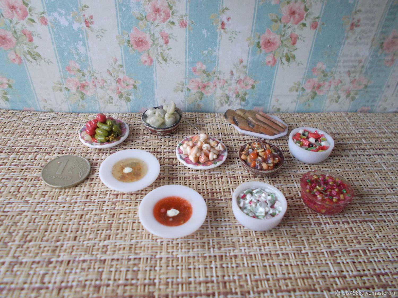 Еда для кукол, первые, вторые блюда, маринованные овощи, грибы, Кукольная еда, Псков,  Фото №1