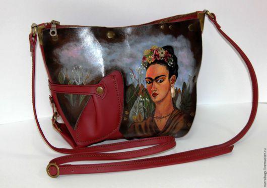 """Женские сумки ручной работы. Ярмарка Мастеров - ручная работа. Купить Сумка """"Frida Kahlo"""". Handmade. Бордовый, аппликация из кожи"""