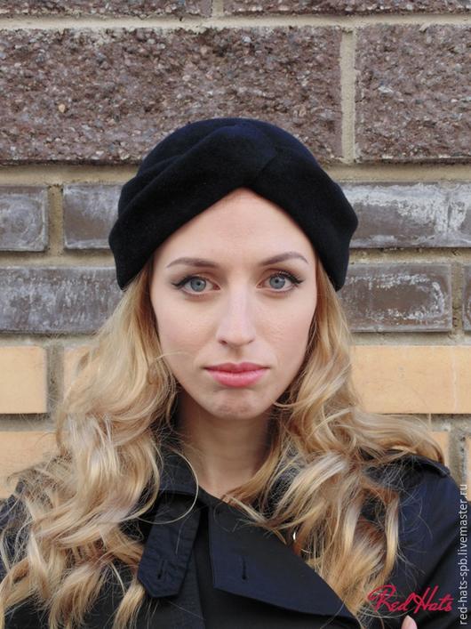 Шляпы ручной работы. Ярмарка Мастеров - ручная работа. Купить Шляпка - Чалма, велюр. Handmade. Черный, чалма, фетровая шляпа