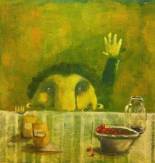 Натюрморт ручной работы. Ярмарка Мастеров - ручная работа. Купить Похищение малины.. Handmade. Картина, наив, наивный стиль, натюрморт