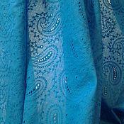 Материалы для творчества ручной работы. Ярмарка Мастеров - ручная работа Батист, насыщенный голубой, с красивой вышивкой пейсли. Ост.1,5 метра!. Handmade.