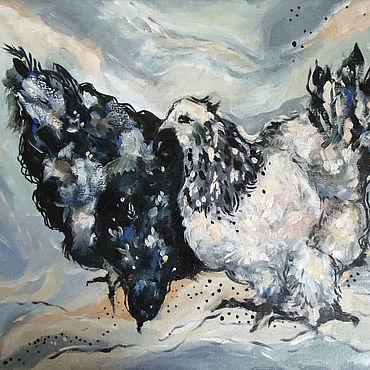 Картины и панно ручной работы. Ярмарка Мастеров - ручная работа Черная и белая курица Картина маслом. Handmade.