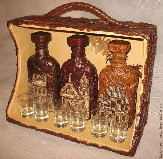 Подарочное оформление бутылок ручной работы. Ярмарка Мастеров - ручная работа. Купить Мини бар. Handmade. Коричневый, бар, подарки