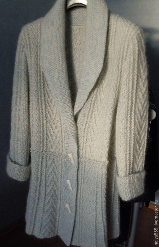 Пиджаки, жакеты ручной работы. Ярмарка Мастеров - ручная работа. Купить Кардиган, бело-голубой  с пуховой нитью Ручная работа. Handmade.