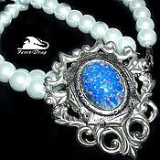 "handmade. Livemaster - original item Female choker (necklace) ""Ice ocean"" white pearls, opal. Handmade."