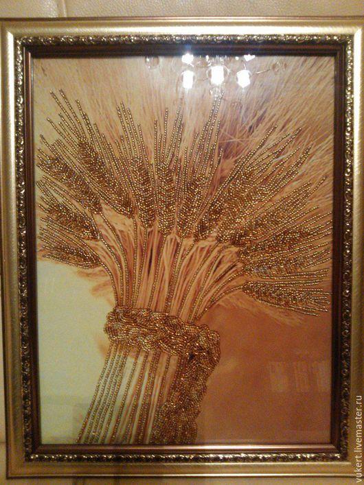 Картина из бисера `Колосья пшеницы`