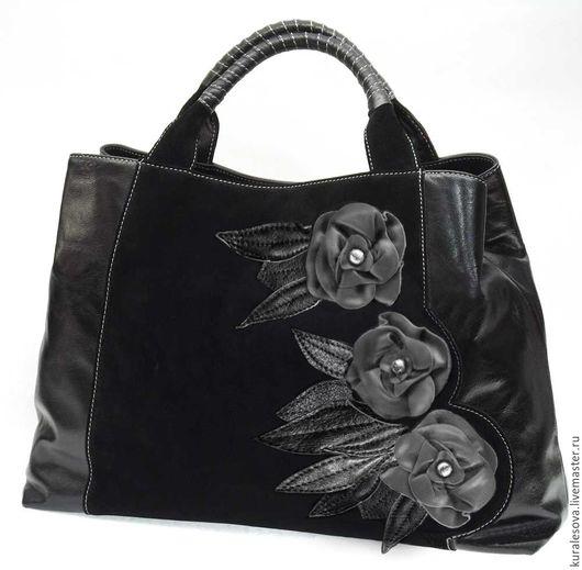 """Женские сумки ручной работы. Ярмарка Мастеров - ручная работа. Купить Кожаная сумка """"Чёрная роза"""". Handmade. Черный"""