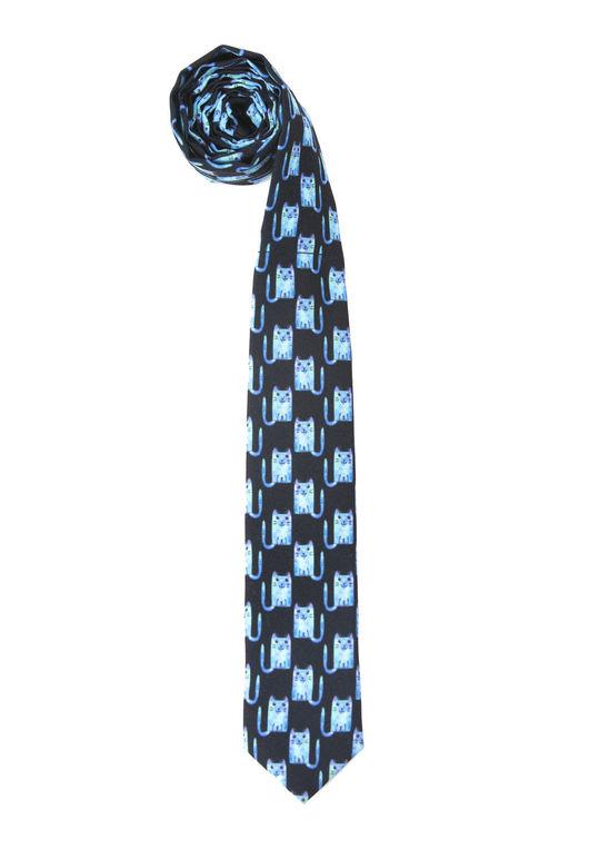 Бирюзовые коты прямо на галстуке! Отличный вариант для необычного веселого подарка!