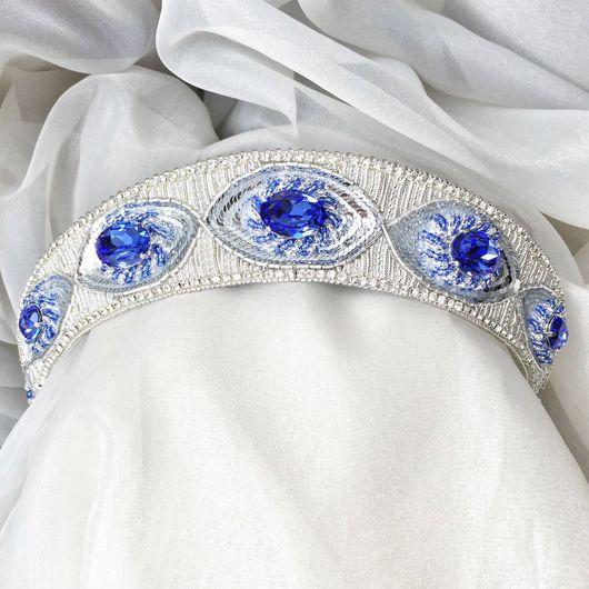 Свадебные украшения ручной работы. Ярмарка Мастеров - ручная работа. Купить Тиара с кристаллами Сваровски Sapphire. Handmade. Тиара, кокошник