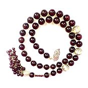 Necklace handmade. Livemaster - original item Necklace-tie Time wine natural garnet. Handmade.