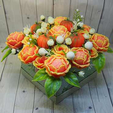 Cosmetics handmade. Livemaster - original item Autumn soap bouquet in a square box. Handmade.
