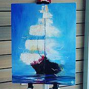 Картины и панно ручной работы. Ярмарка Мастеров - ручная работа корабль в тумане  картина маслом. Handmade.