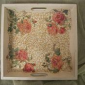 Для дома и интерьера ручной работы. Ярмарка Мастеров - ручная работа Поднос Золотые розы. Handmade.