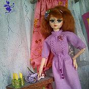 Куклы и пупсы ручной работы. Ярмарка Мастеров - ручная работа Фиалочка-платье с аксессуарами на кукол рост 60 см. Handmade.
