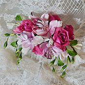 Украшения ручной работы. Ярмарка Мастеров - ручная работа Гребень из роз, орхидей и фрезий для невесты. Цветы из шелка. Handmade.