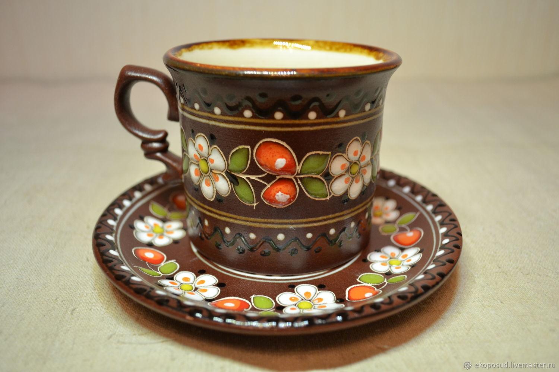 """Чашка чайная """"Вишневый сад"""", глиняная. 280 мл. + блюдечко, Кружки и чашки, Харьков,  Фото №1"""