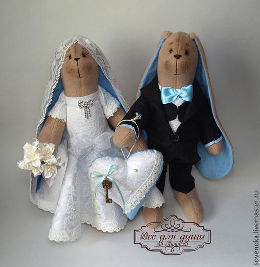 """Куклы Тильды ручной работы. Ярмарка Мастеров - ручная работа. Купить Кролики свадебные """"В голубых тонах"""". Handmade. ретро"""
