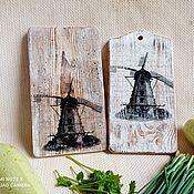 Посуда handmade. Livemaster - original item Cutting serving board set old mill set. Handmade.