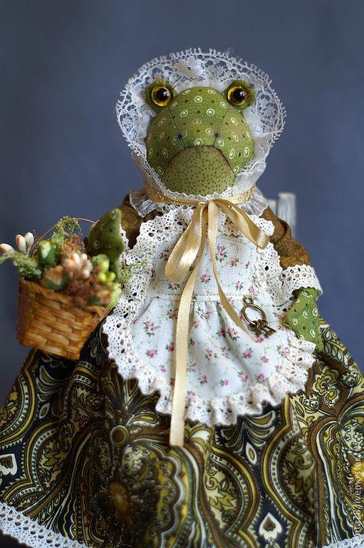 """Коллекционные куклы ручной работы. Ярмарка Мастеров - ручная работа. Купить Текстильная кукла """"миссис Квакинс"""". Handmade. Зеленый, жаба"""