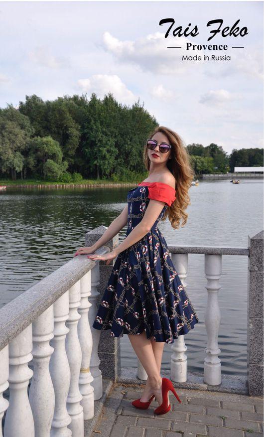 Платья ручной работы. Ярмарка Мастеров - ручная работа. Купить Платье Морское из Круизной коллекции TAIS Feko т.син 7500руб. Handmade.