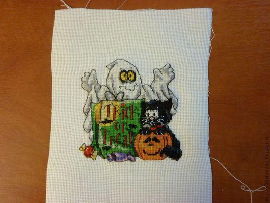 Юмор ручной работы. Ярмарка Мастеров - ручная работа. Купить Хэллоуин. Handmade. Хеллоуин, Вышивка крестом, привидение, кот